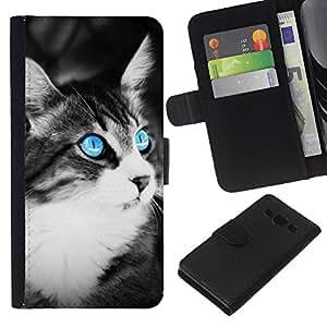 KLONGSHOP // Tirón de la caja Cartera de cuero con ranuras para tarjetas - Gato azul - Samsung Galaxy A3 //
