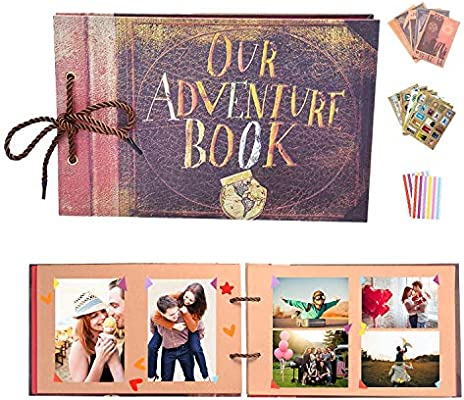 YIHAO Album de Fotos,Libro de Aventura con Accesoro Maravilloso, Our Adventure Scrapbooking DIY Vintage Aniversario Boda Amigos Novios Bebé Regalo ...