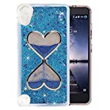 HTC Desire 626/ HTC 530 Case, QKKE [Wine Glass Diamond Series] 3D Glitter Bling Hearts Flowing Liquid Star Clear Hard Case for HTC Desire 626/ HTC 530(Hourglass/Blue)