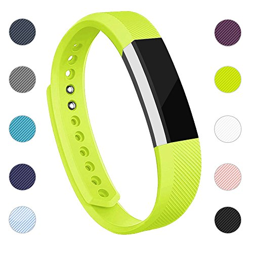iGK Replacement Bands Compatible for Fitbit Alta and Fitbit Alta HR, Newest Adjustable Sport Strap Smartwatch Fitness Wristbands with Metal Clasp Yellow-Green Small ()