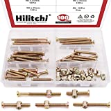 Hilitchi 100-Pcs M6 x 35/45/55/65/75mm Zinc Plated Hex Drive Socket Cap Furniture Barrel Screws Bolt Nuts Assortment Kit for Furniture Cots Beds Crib and Chairs