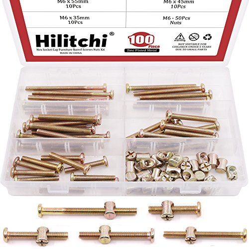 Hilitchi 100-Pcs M6 x 35/45 / 55/65 / 75mm Zinc Plated Hex Drive Socket Cap Furniture Barrel Screws Bolt Nuts Assortment Kit for Furniture Cots Beds Crib and Chairs