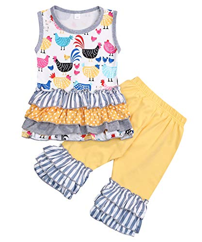 Girls or Toddler Deluxe Novelty Ruffle Summer Boutique Shorts Outfit (Yellow, 2-3 Years) ()