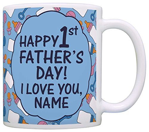 - Personalized First Fathers Day Gifts Happy 1st Father's Day Add Text Gift Coffee Mug Tea Cup Blue