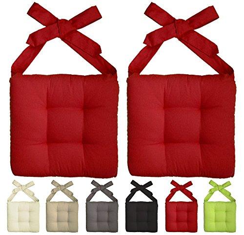 2er Pack Premium-Stuhlkissen / Kissen / Sitzkissen / m. 2 Schleifenbändern / 4er Steppung / 42x46x7cm / 52% BW / 48% PE / rot