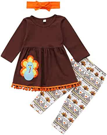 2a745030b3bf 3Pcs Kids Toddler Baby Girls Turkey T-Shirt Top Dress+Pants+Headband  Thanksgiving
