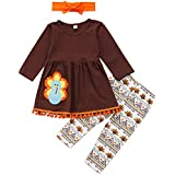 3Pcs Kids Toddler Baby Girls Turkey T-shirt Top Dress+Pants+Headband Thanksgiving Outfit Clothes Set