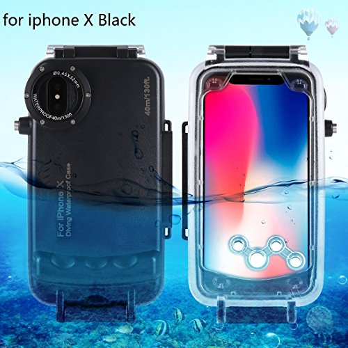 HAWEEL iPhone X Underwater Housing Professional [40m/130ft] Diving Case for Diving Surfing Swimming Snorkeling Photo Video with Lanyard (iphone X, Black) from HAWEEL