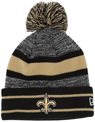 NFL New Orleans Saints Pom Knit Beanie, One Size, Black (New Era Beanie)