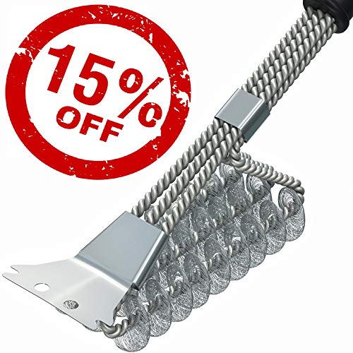 BBQ Grill Brush and Scrapper - 18in - Premium Safe 4 in 1 Stainless Steel Barbecue Cleaner Bristle Free Brush - Non-Slip Handle for Charcoal Grill Weber Gas - Steel/Ceramic/Iron (Premium Chrome) ()