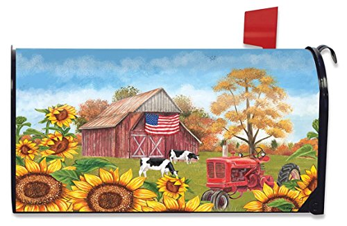 Briarwood Lane Sunflower Barn Fall Mailbox Cover Patriotic Autumn Standard (Barn Mailbox)