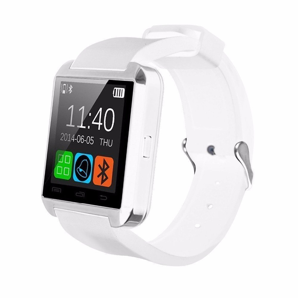 HOMEGO Cars-029, U8 Upgrade Model Water-Proof Bluetooth Wrist Smart Watch Phone Mate Hands-Free Call for Smartphone Outdoor Sports Pedometer Stopwatch – White