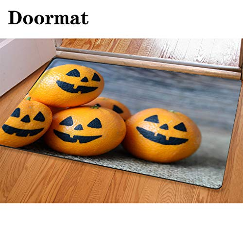 HooMore 3D Printing and Dyeing,Bathroom Carpet, Door mat,Painted Scary Faces on a Holiday of Halloween on Orange Flannel Foam Shower mat, Absorbent Kitchen Door Carpet -