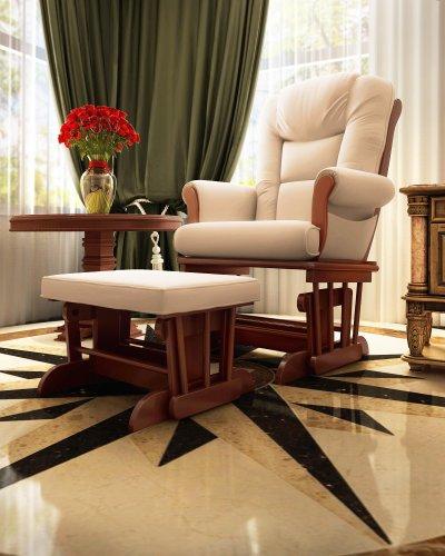Naomi Home Deluxe Multi-Position Sleigh Glider and Ottoman Set, Cream/Cherry