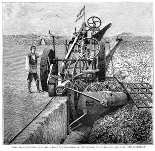 Grabado antiguo (1883) - Xilografía - Inventos.- Gran Arado ...