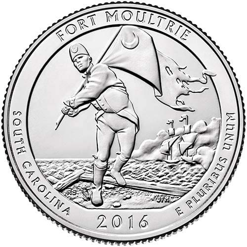 2016 P,D,S BU Fort Moultrie-Fort Sumter National Monument NP Quarter Choice Uncirculated US Mint 3 Coin Set