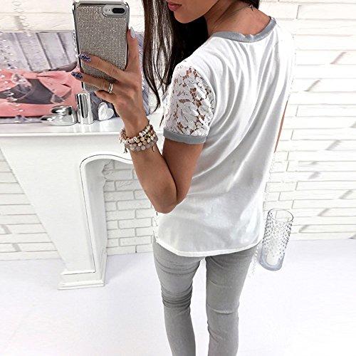SKY Mujer Shi Leisi empalme de lentejuelas camisa de la camiseta Short Sleeves Lace Tops Ladies Casual T Shirt Tee Blouse Blanco