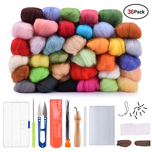 Hisome Needle Felting Wool Set Wool Felt Tools with 36 Colors Wool Roving Felting Starter Basic Kit by Hisome