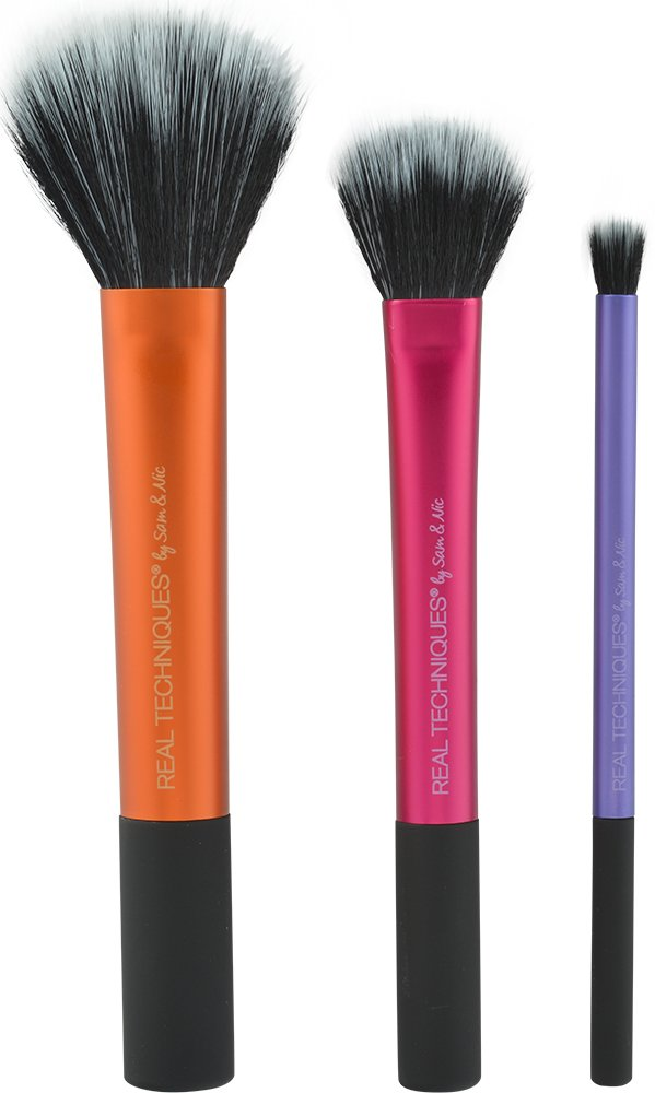 Real Techniques Duo-Fiber Collection, Dense Dark Fibers and Sheer Light Fibers for Slowly Building Color, with Custom Cut Synthetic Bristles and Extended Aluminum Ferrules