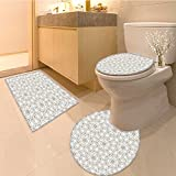 3 Piece Anti-slip mat setMothers Day Gifts Collection Corns and Peonies Romance Bouquet Wedding Wreath Print F Non Slip Bathroom Rugs