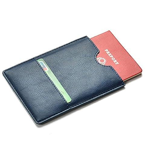 XeYOU Passport Holder Cover - Ultra Slim Premium Vegan Leather Travel Wallet Case Cover (Deep Blue) (Blackberry Passport Clip)