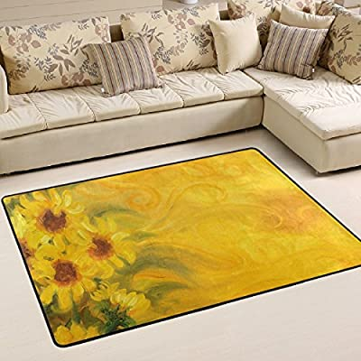 WOOR Sunny Sunflowers With Living Area Rugs for Living Room Bedroom Dining Office 6 x 4 Feet Modern Floor Mat Home Decor