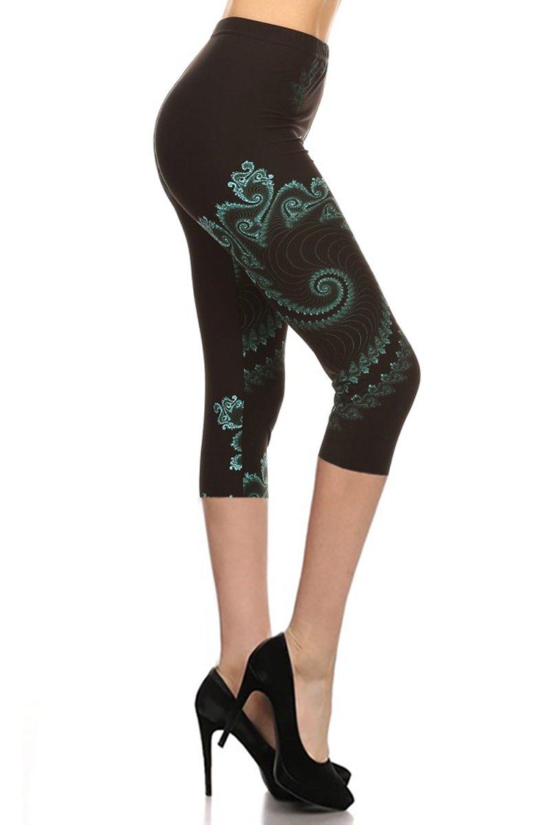 Capri Print Leggings Green Potion (R745-CA-OS)
