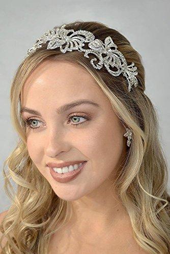 Swirled Crystal Flower Headband Style E553, Silver