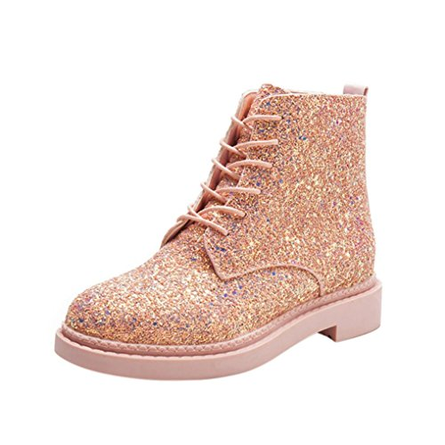 Inkach Women Martin Boots Winter High Heels Ankle Booties Warm Shiny Lace Up Shoes Pink J4FwmKSF