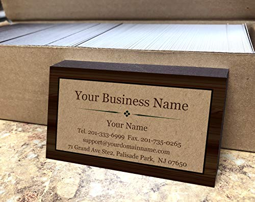 Custom Business Cards 500pcs - Wood Frame with Kraft Image -16pt cover(129 lbs. 350gsm-Thick paper) Offset Printing, Made in The USA