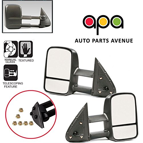 APA Chevy Silverado Avalanche Suburban GMC Sierra Yukon 99-06 Textured Manual Telescopic Tow Mirror Set