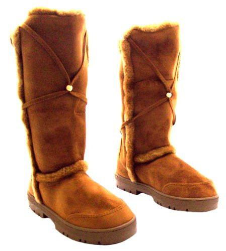 Size 4 Platino Womens Plush Chestnut Brown Mid Calf Slouch Suedette Boots xof2qaon
