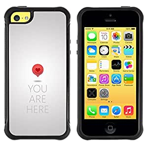 Fuerte Suave TPU GEL Caso Carcasa de Protección Funda para Apple Iphone 5C / Business Style Heart Love Metal Grey Quote