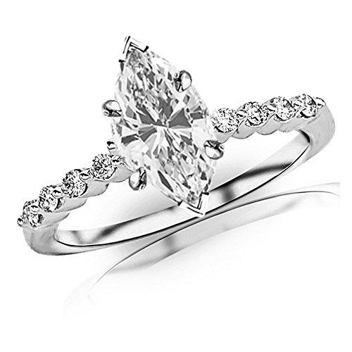 1.15 Ctw Marquise Cut Floating Prong Set Platinum Diamond Engagement Ring (J-K Color I1-I2 Clarity 1 Ct Center)