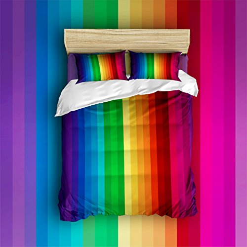 Libaoge 4 Piece Bed Sheets Set, Colorful Stripes, Ethnic Bright Rainbow Art Print, 1 Flat Sheet 1 Duvet Cover and 2 Pillow Cases
