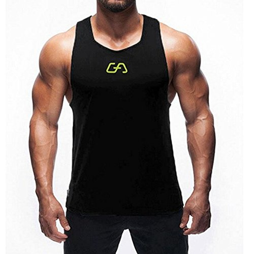 Men's Muscle Workout Gym Sleeveless T-Shirt Bodybuilding Crossfit Tank Tops Black L tags XL