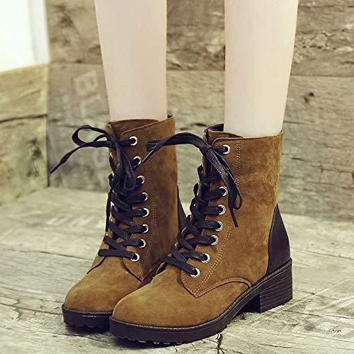 IWxez Damenmode Stiefel PU (Polyurethan) Herbst Freizeitstiefel Chunky Heel Heel Heel Round Toe Mitte der Wade Stiefel Schwarz Gelb b6cba9