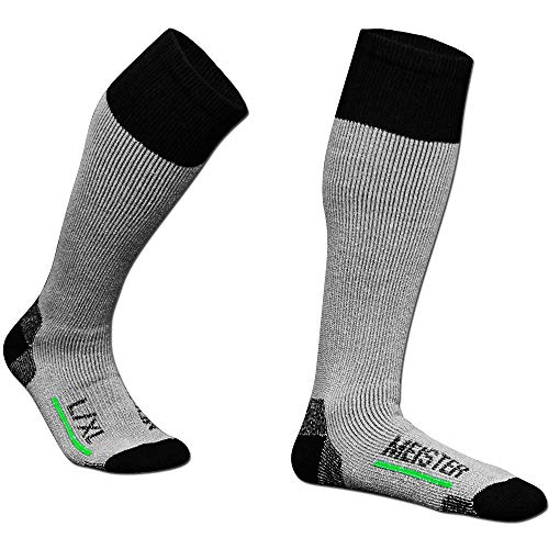 (Meister Performance Wool Blend Over-The-Calf Socks - Warm, Dry & Comfortable - Heather Gray - Small/Medium - 2 Pairs)
