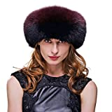 URSFUR Fox Fur Roller Hat with Leather Top and Tails (One Size Fits All, Black & Red)