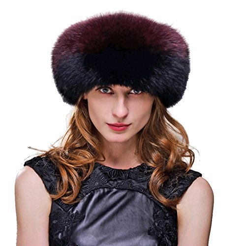 URSFUR Fox Fur Roller Hat with Leather Top and Tails (One Size Fits All, Black & Red) by URSFUR