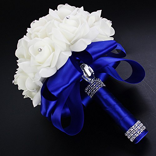 Bridal Wedding Bouquet Bridesmaid Bouquet with Crystals Artificial Rose Flowers for Party (Royal Blue)