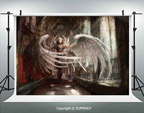 Photo Backdrop Cyborg Angel Girl Warrior with Sword in Gothic Ancient Historical Architecture Decorative 3D Backdrops for Interior Decoration Photo Studio Props]()