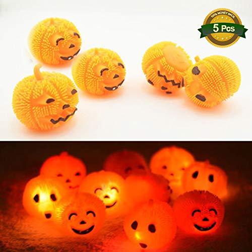 Chelseabyt 5 PCS Pumpkin Soft Squeeze Toy Halloween Squishy Ball Cute Funny Expression Pumpkin LED Soft Ball for Kids(Random Pattern)