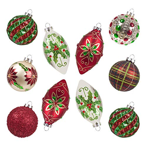 Teresas Collection 10ct Country Road Glass Blown Christmas Ball Ornaments Red Green and Gold,3.15inch-4.72inch,Themed with Tree Skirt(Not Included)