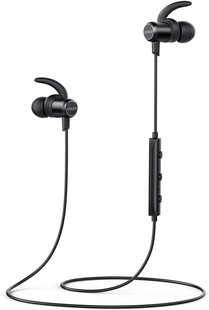 Anker SoundBuds Slim, Auriculares Bluetooth 4.1 estéreo, magnético on funda delgada y ligera, resistente al agua deporte auriculares con micrófono, color negro