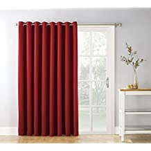 Sun Zero Easton Extra Wide Blackout Patio Curtain Panel, 100 x 84 Inch, Solid, Red