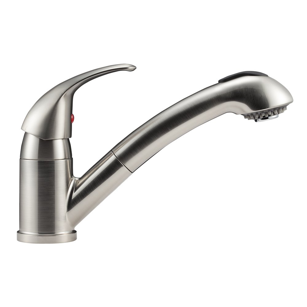 amazon com dura faucet df nmk852 sn pull out rv kitchen faucet amazon com dura faucet df nmk852 sn pull out rv kitchen faucet for 5th fifth wheels rvs motorhomes travel trailers campers brushed satin nickel