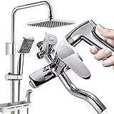 DWhui Bathroom Shower Mixer Hand Shower Set Spray Gun Filter Head Sprayer Set Thermostatic Valve Square (Punch Installation)