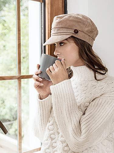 accsa Womens Newsboy Cap Ladies Visor Beret Hat French Cotton Baker Hat Adjustable Cabbie Cap for All Seasons