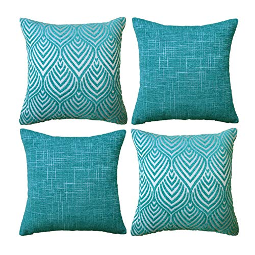 Original Pro Geometric Pillow Covers Chenille Plush Decorative Cushion Covers Textured Waves Striped Pillowcases for Sofa Couch Bed Set of 4 18 x 18 inches Teal